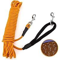 PETTOM Odblaskowa smycz dla psów, 5 m/10 m/15 m, smycz treningowa z paskiem na rękę i 2 karabińczykami, długa smycz…