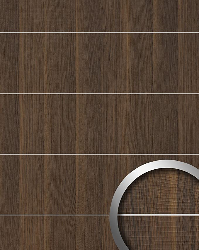 Revestimiento mural aspecto madera WallFace 19099 NUTWOOD 8L nogal decoración cintas metálicas cepilladas panel de pared adhesivo marrón oscuro 2,60 m2: ...
