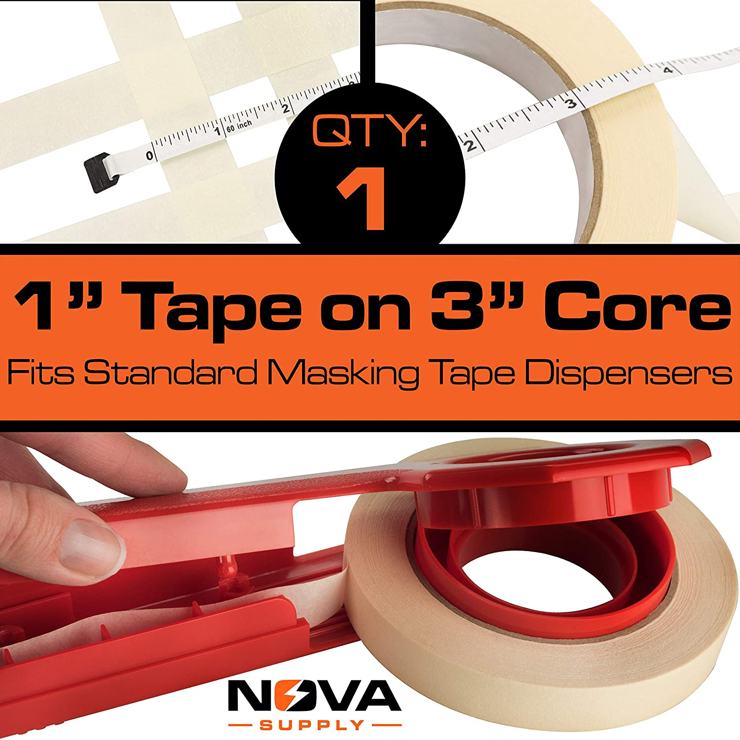 Easy-Tear 60 Yard Masking Tape 2 Pk Office or Commercial Contractor Drip-Free Painting with Wide Crepe Paper Rolls No-Residue 1 Inch Clean Pro-Grade Removable Painters Tape Great for Home