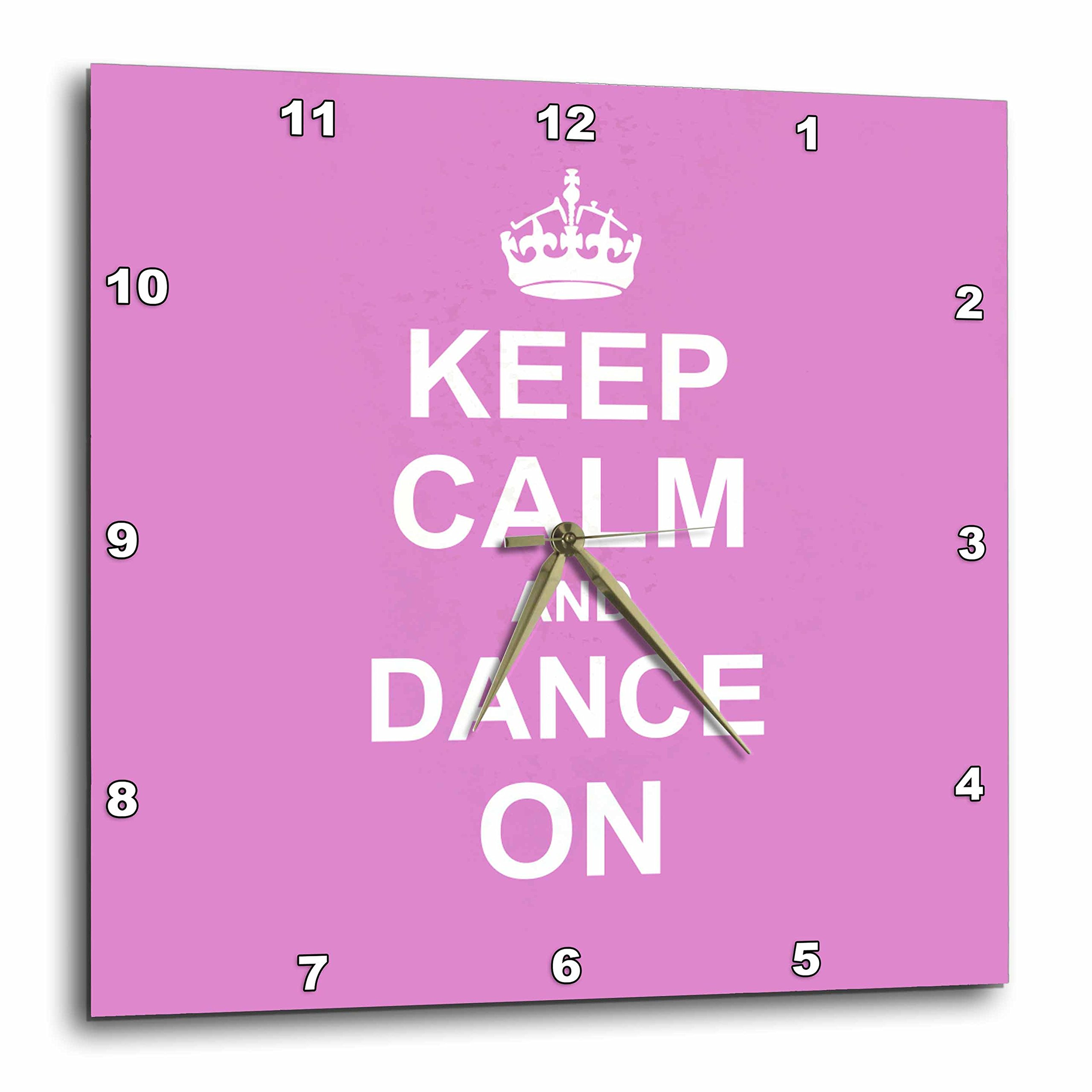 3dRose Keep Calm & Dance on - Carry on Dancing - Gifts for Dancers - Girly Pink Fun Funny Humor Humorous - Wall Clock, 10 by 10-Inch (DPP_157705_1)