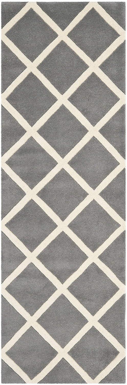 Safavieh Teppich mit Rautenmuster, CHT720, Gewebter Polypropylen, Dunkelgrau/Elfenbein, 68 X 213 cm
