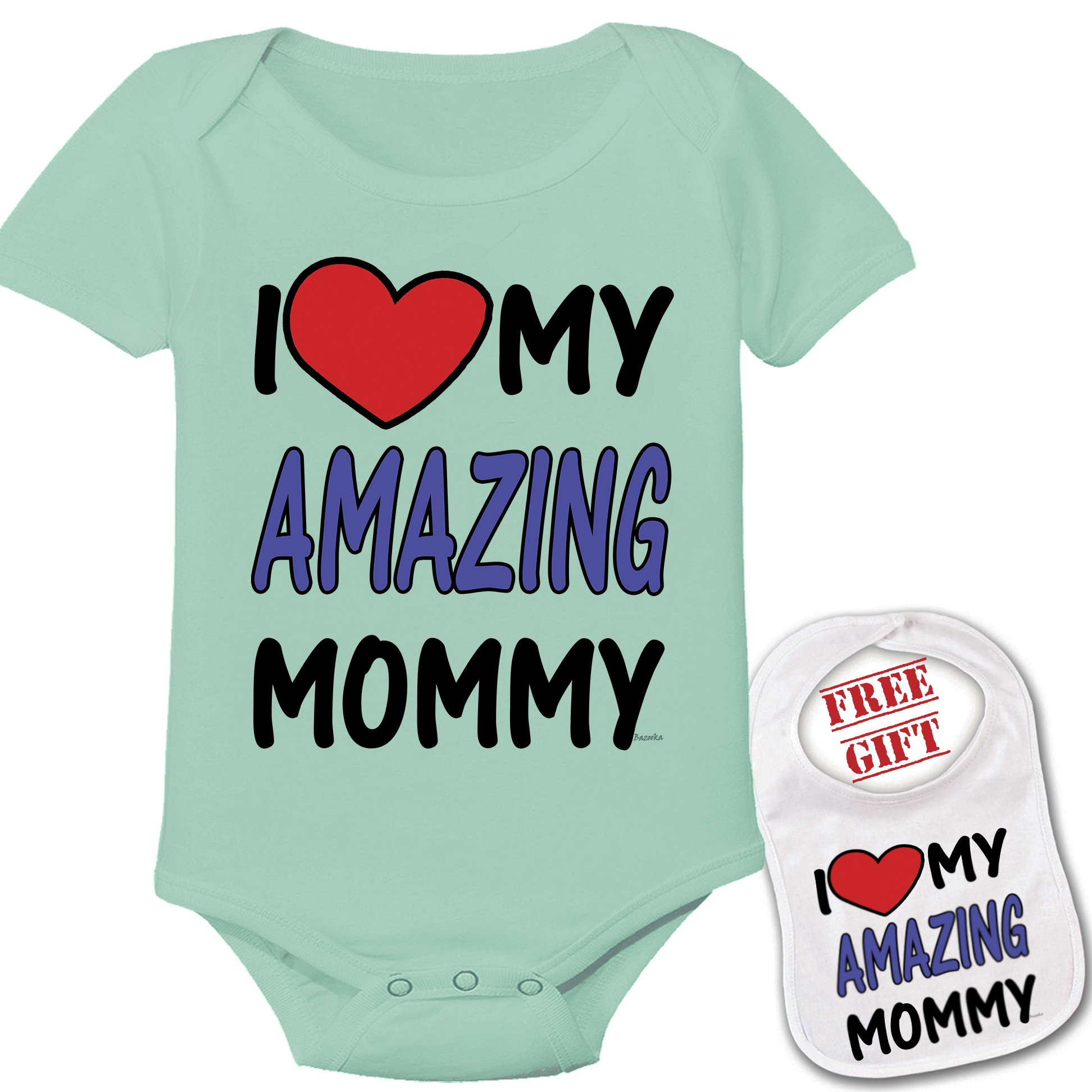 '' I love my amazing mommy ''Cute Custom boutique Baby bodysuit onesie & matching bib