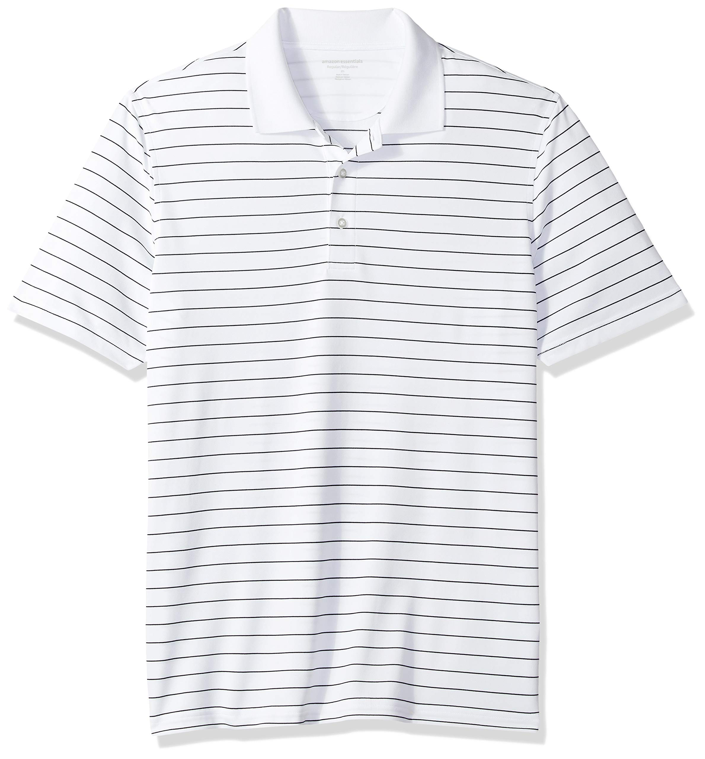 Amazon Essentials Men's Regular-Fit Quick-Dry Golf Polo Shirt, White Stripe, Small by Amazon Essentials
