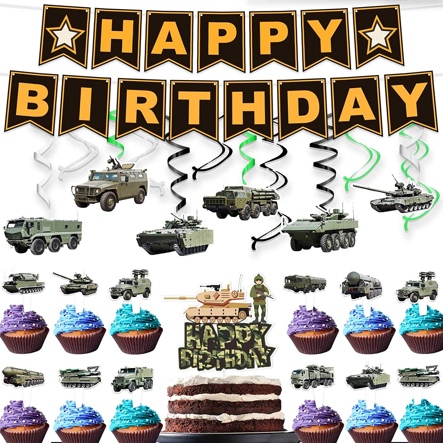 Armored Vehicles Hanging Swirl Streamers Banner Cake Topper Block Cool Chariot Party Decor Perfect for Child Teens Happy Birthday Party Supplies Decorations Set 18pcs