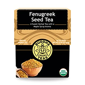 Buddha Teas Organic Fenugreek Seed Tea | 18 Bleach-Free Tea Bags | Rich Earthy Taste | Natural Source of Vitamins Minerals and Antioxidants | Made in the USA | Caffeine-Free | GMO-Free