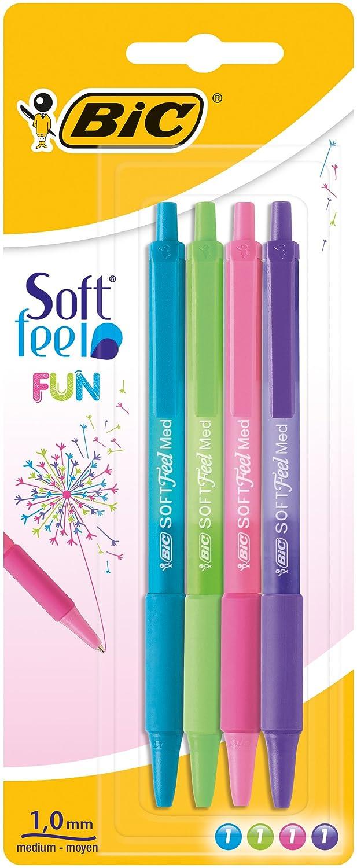 colori assortiti blister da 4/pezzi 0,32/mm BIC 942051/Soft Feel Pennino Penna soft Feel Fun