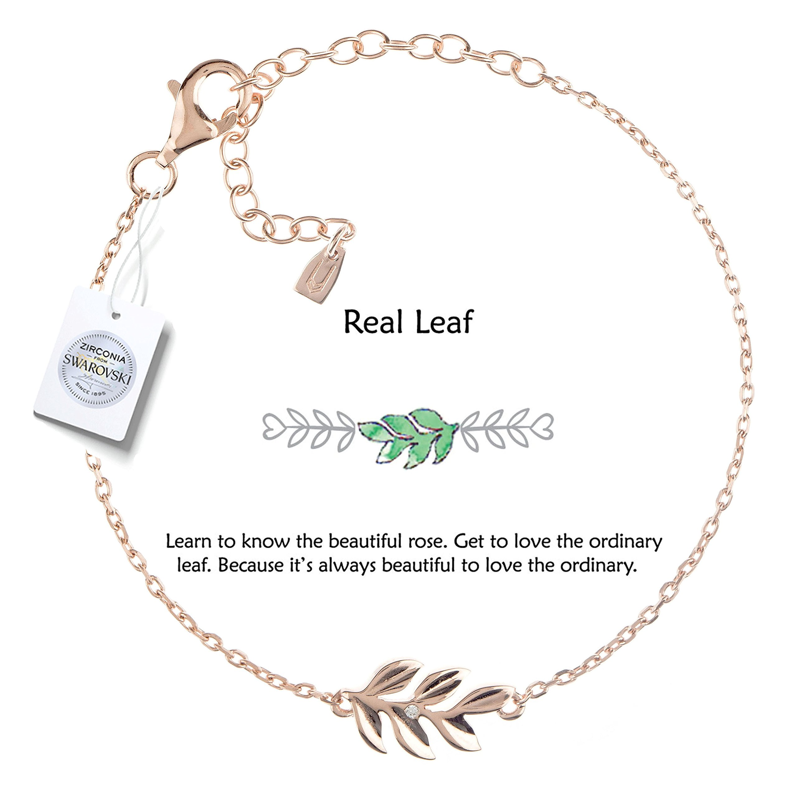 Vivid&Keith Leaf Bracelet ♥Just a Leaf♥ 925 Sterling Silver Adjustable Bracelet 18K Gold Plated with Swarovski Zirconia