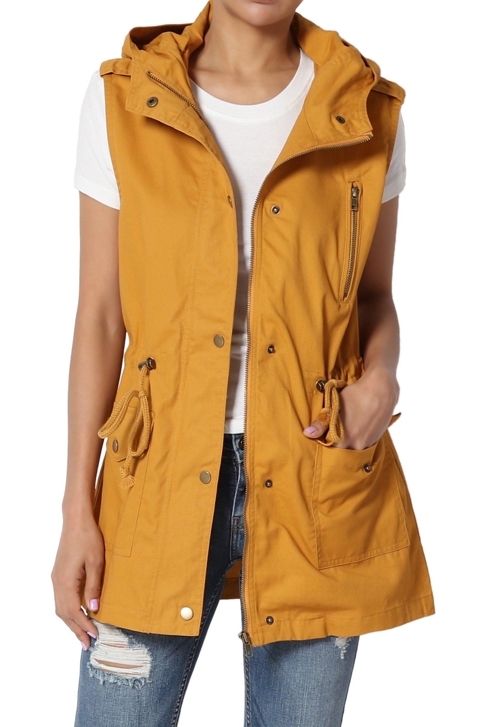TheMogan Women's Military Drawstring Waist Loose Fit Utility Hoodie Vest Mustard M