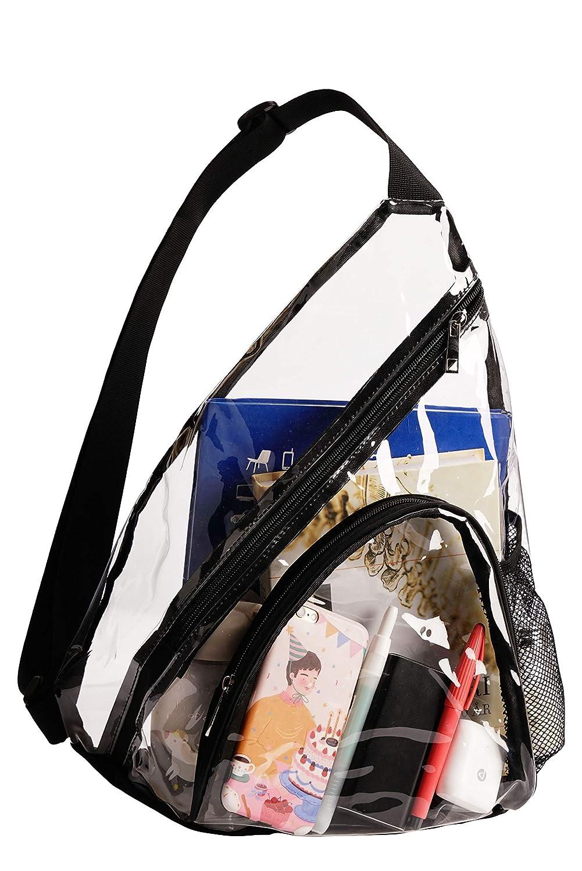 Bytrust Clear Backpack Stadium Approved-Transparent Shoulder Crossbody Sling Bag for Events//Games//Concerts