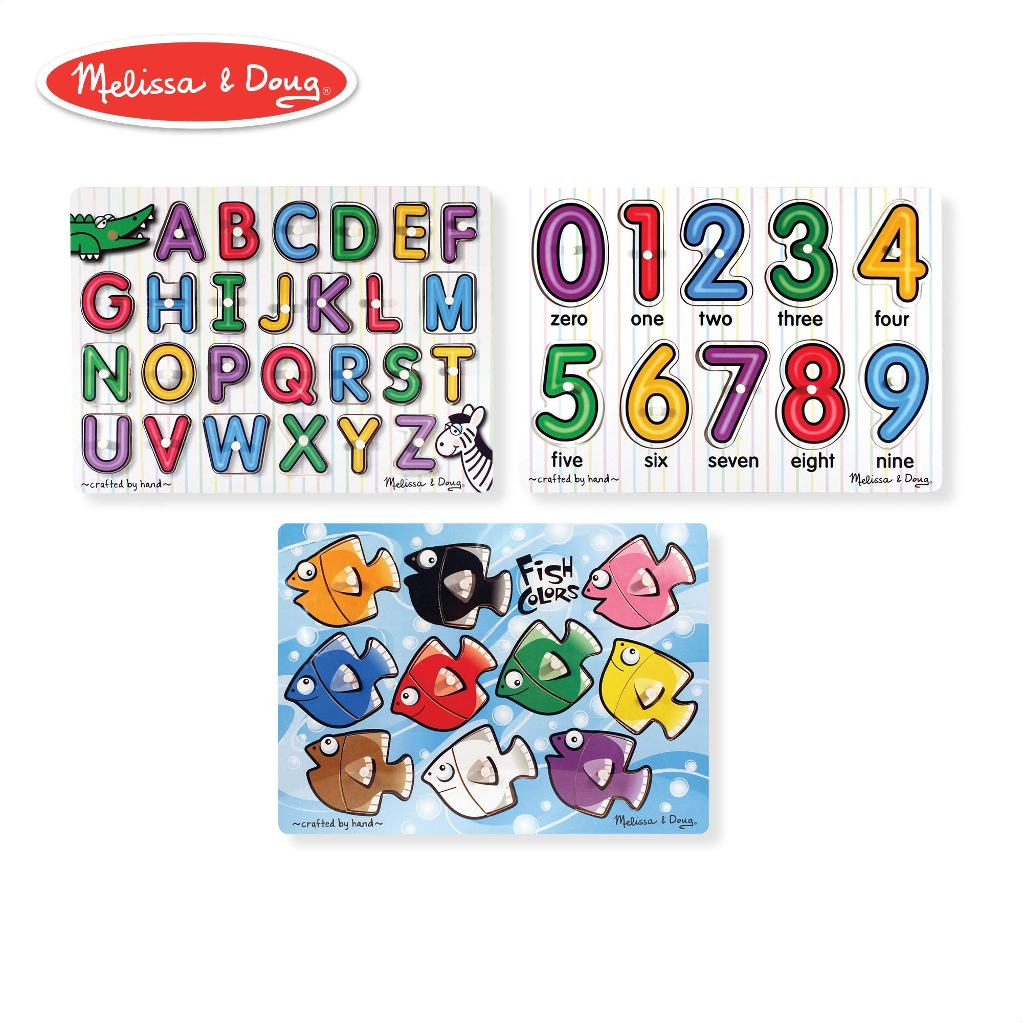 Melissa & Doug Classic Wooden Peg Puzzles, See-Inside Alphabet & Numbers, and Fish Mix & Match Colors, 3-Pack by Melissa & Doug