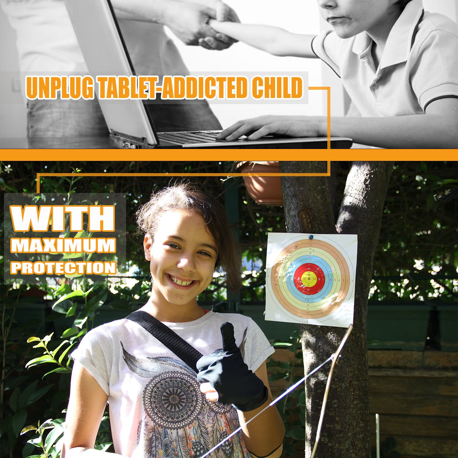 Knidose Beginners Bow Arrow Kids | 36 Pieces Safe Archery Set Outdoor Indoor Fun, Handcrafted Wooden 1 Bow, 15 Arrows, 15 Target Sheets, 1 Quiver, 2 Arm 2 Finger Guards Shooting Toy by Knidose (Image #5)