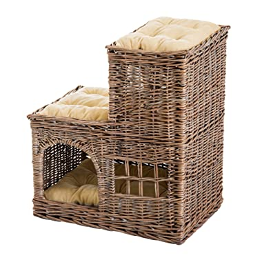 PawHut 24  L-Shaped Wicker Elevated 3-Tier Cat Bed Tree House Condo with Cushions