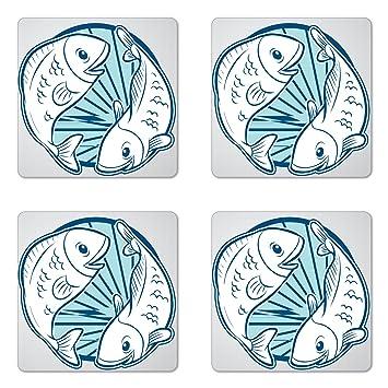 Amazon com: Lunarable Zodiac Pisces Coaster Set of Four