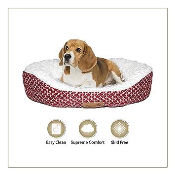 Cama para perro Woofers Slaney de tamaño mediano, colores rojo y blanco,