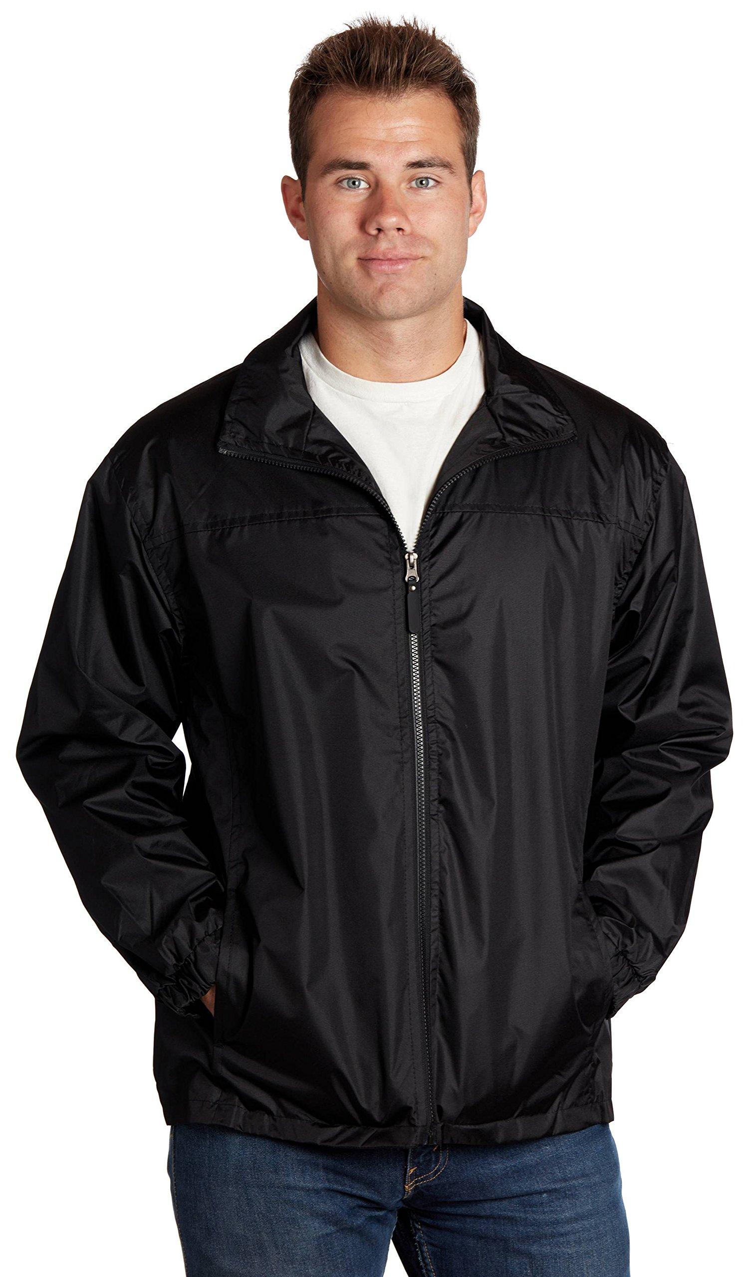 Equipment De Sport USA Men's Water Resistant Front Zip Lined Windbreaker Jacket Medium Black by Equipment De Sport USA
