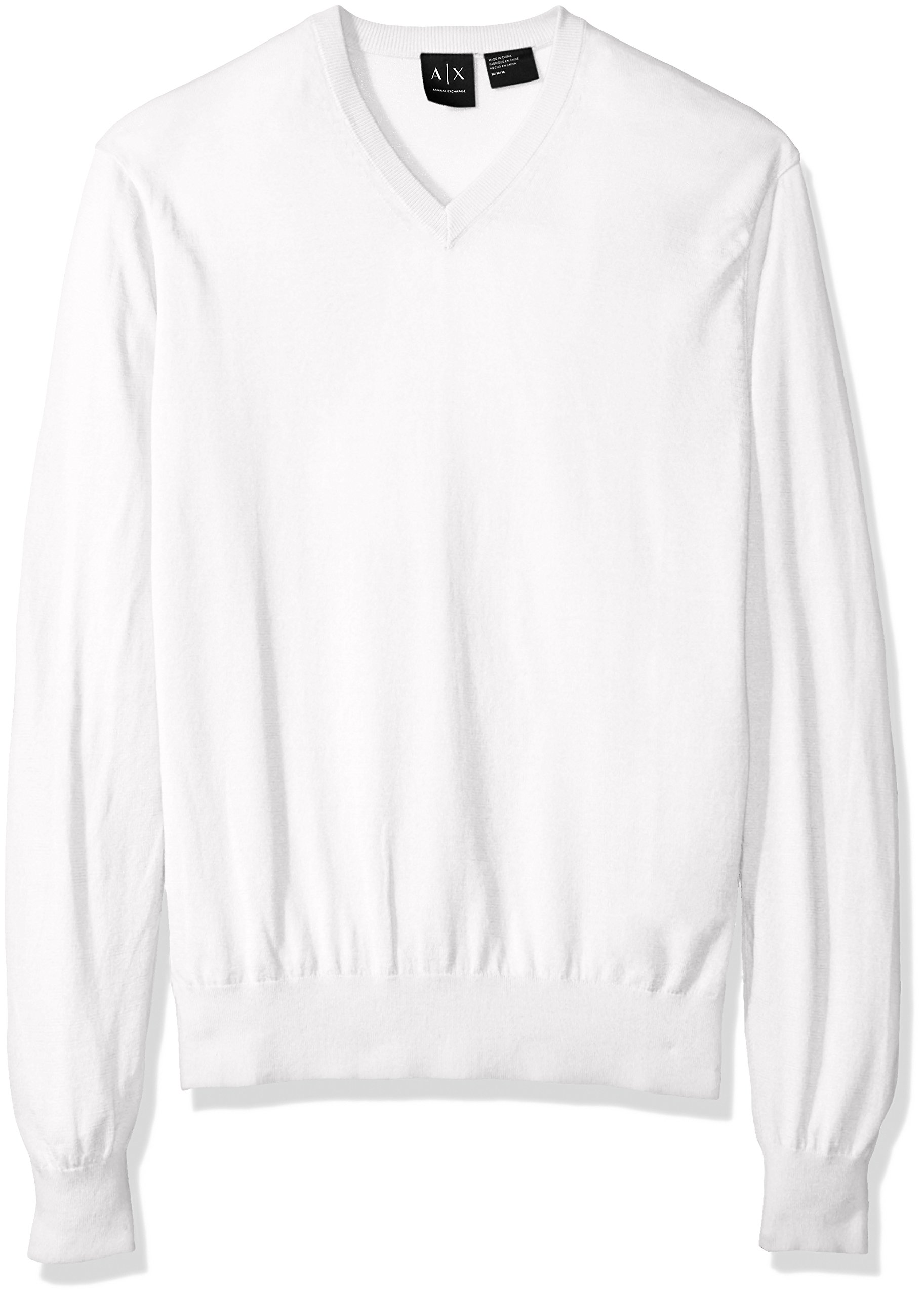 A|X Armani Exchange Men's Ls V Neck Sweater Knit, White, Medium