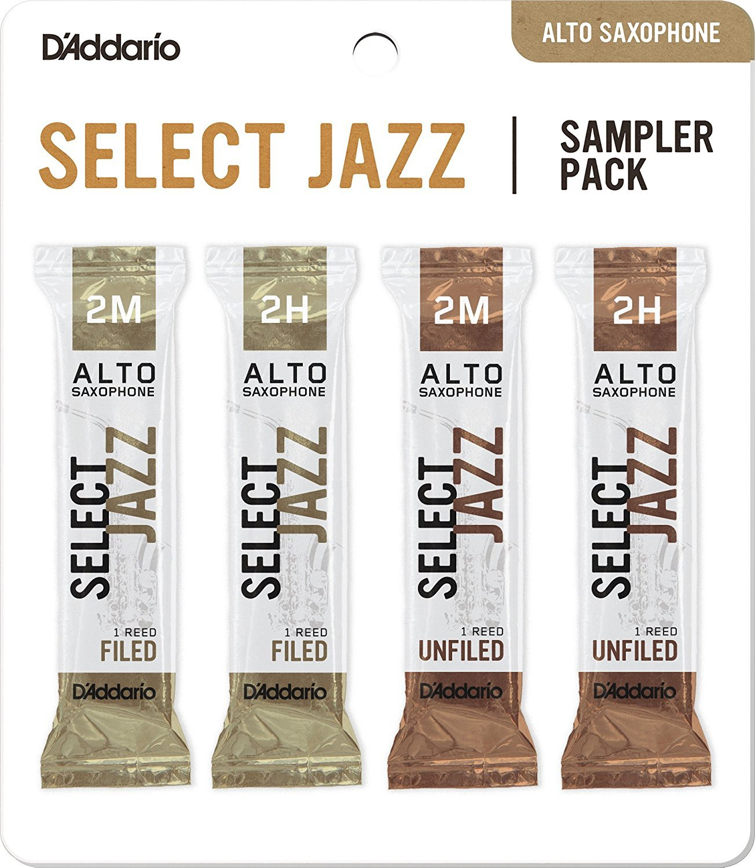 D'Addario Woodwinds DSJ-J2M Select Jazz Alto Saxophone Reed Sampler Pack, 2M/2H