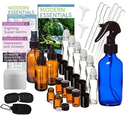 Botellas de Aceites Esenciales ámbar vidrio y cristal de azul cobalto 31 piezas Deluxe Kit-