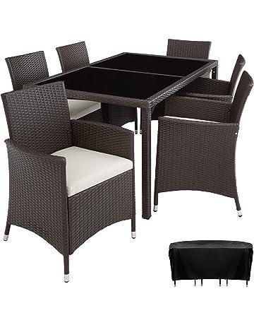 TecTake Conjunto Muebles De Jardín En Ratán Sintético 6+1 | Tornillos De Acero Inoxidable