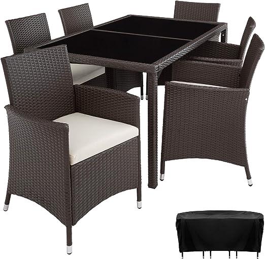 TecTake Conjunto Muebles De Jardín En Ratán Sintético 6+1 | Tornillos De Acero Inoxidable | Funda completa - disponible en diferentes colores - (Antiguo | no. 402060): Amazon.es: Jardín