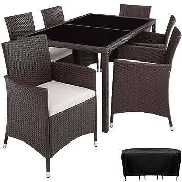 TecTake Conjunto Muebles De Jardín En Ratán Sintético 6+1 | Tornillos De Acero Inoxidable | Funda completa - disponible en diferentes colores - ...
