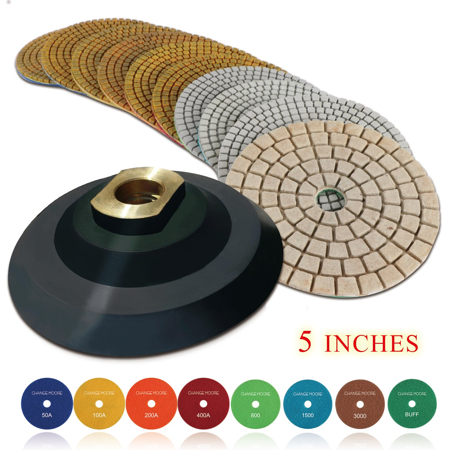 CHANGE MOORE Wet Diamond Polishing Pads Set 5 Inch for Marble Granite Travertine Terrazzo Concrete Stones Quartz Countertop Floor, 10 PCS and 1 Rubber Backing Pad (5/8'' Arbor)