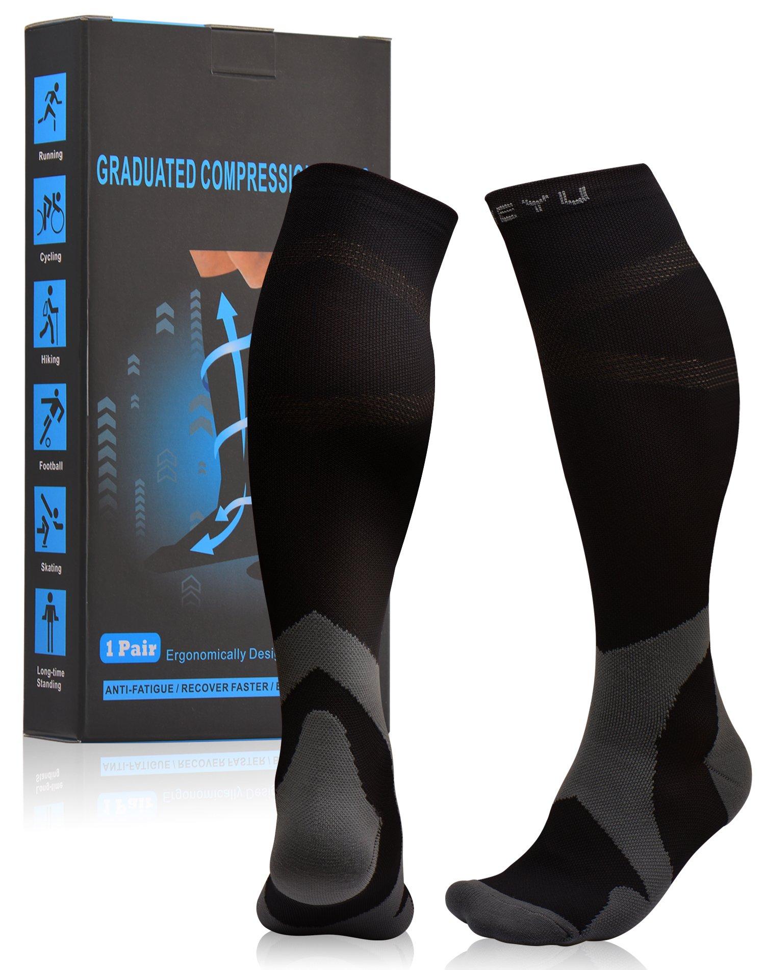 Atist Compression Socks for Women & Men, 20-30 mmHg, Crossfit, Boost Calf Muscle Performance & Stamina, Black, L/XL