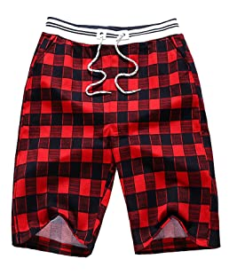 JOKHOO Men's Summer Cotton Loose Plaid Shorts (Red, XL)