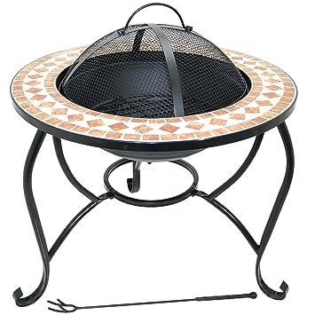 60cm Fire Pit Round Outdoor Mosaic Garden Brazier Patio Heater Stove