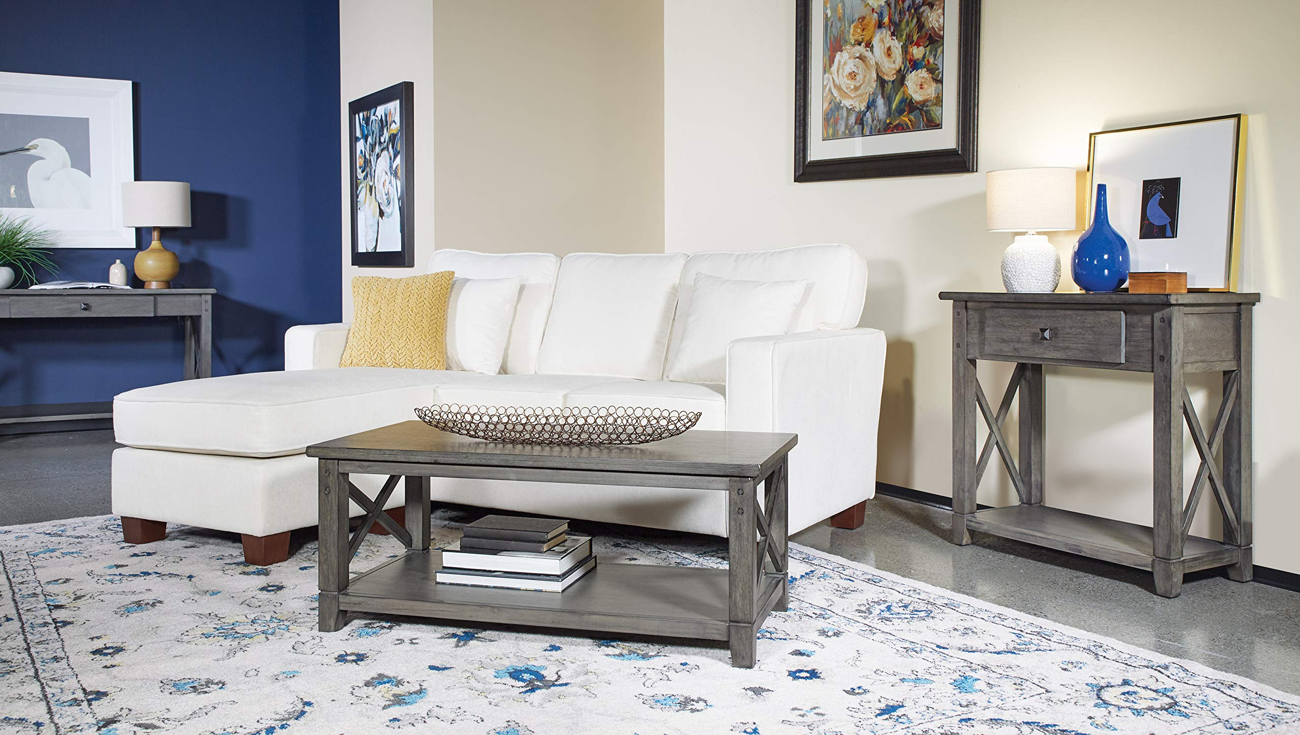 OSP Home Furnishings Hillsboro Foyer Table, Grey Wash by OSP Home Furnishings