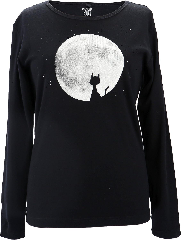 Green 3 100% Organic Cotton Long Sleeve Cat Moon T-Shirt