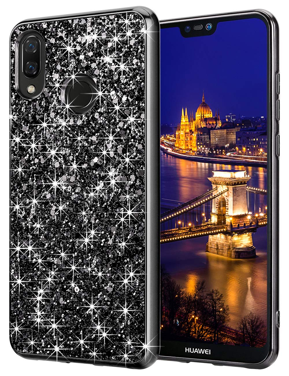 Coolden Compatible Luxe Bling Bling Paillettes Coque Fin résistant aux Chocs Shining Coque de Protection Huawei P20Lite UK-SOFT BLING-P20 Lite-Black