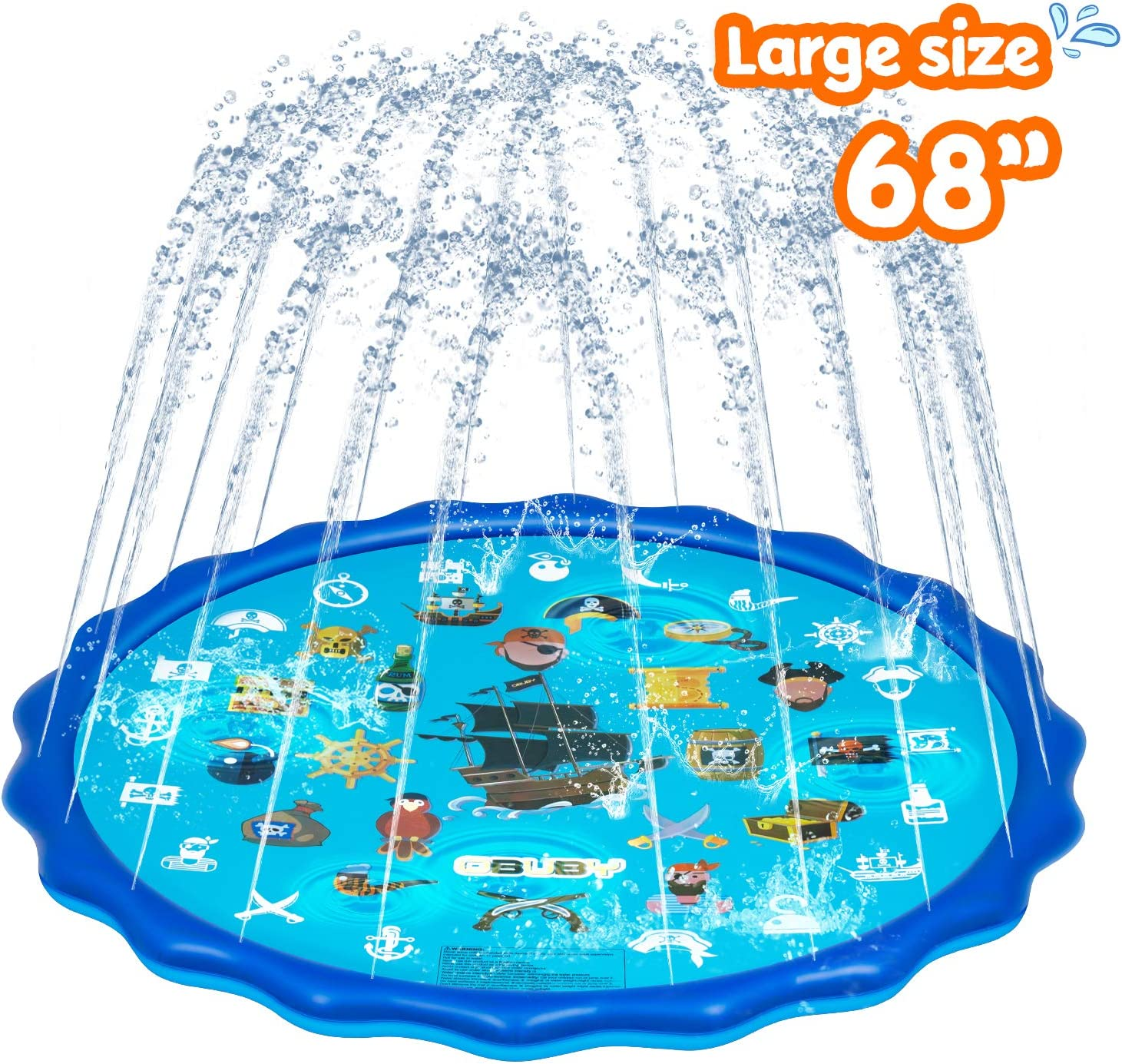 Obuby Sprinkle & Splash Play Mat, Sprinkler for Kids,Upgraded 68' Summer Outdoor Water Toys Wading Pool Splash pad for Toddlers Baby, Outside Water Play Mat for 1-12 Years Old Children Boys Girls: Toys & Games