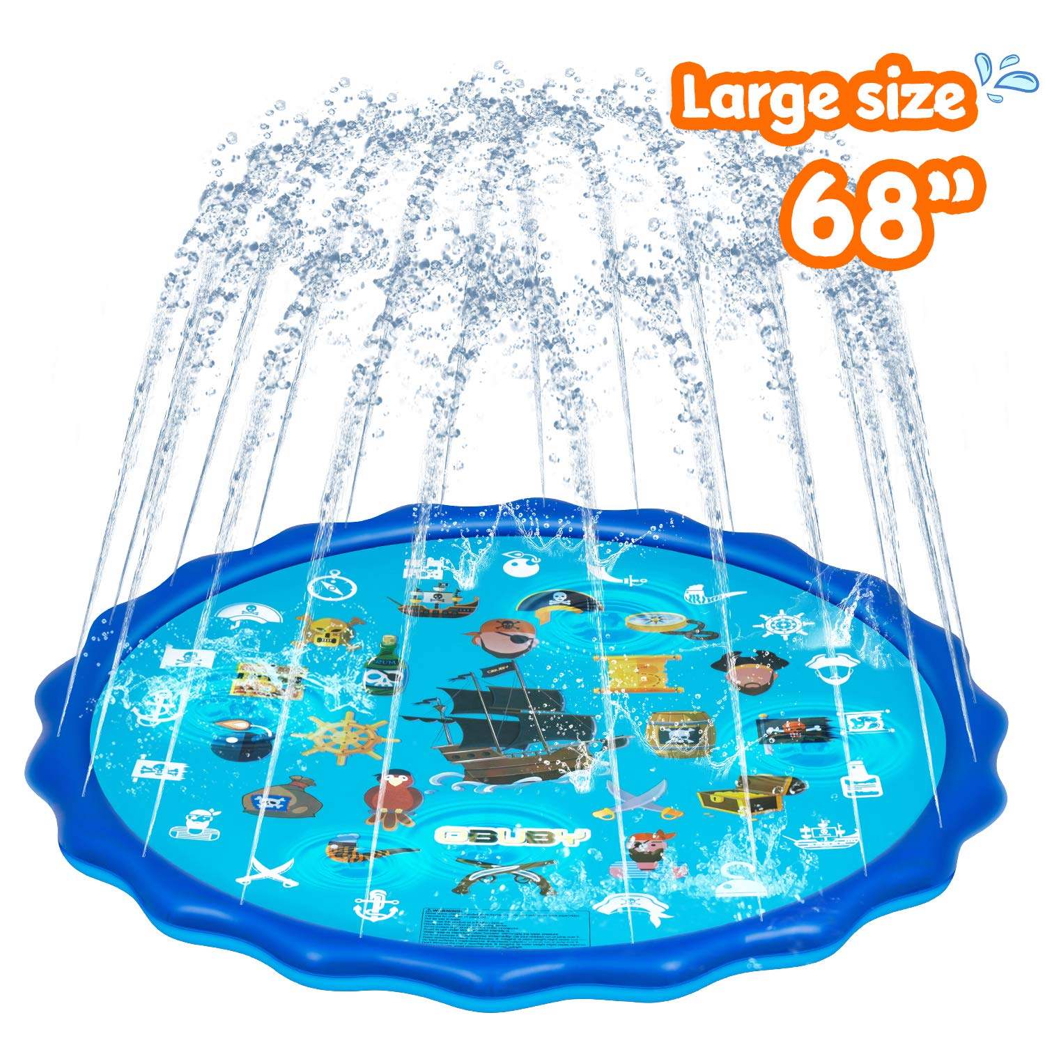 Obuby Sprinkle & Splash Play Mat Sprinkler for Kids Upgraded 68' Summer Outdoor Water Toys Wading Pool Splash pad for Toddlers Baby Outside Water Play Mat for 1-12 Years Old Children Boys Girls
