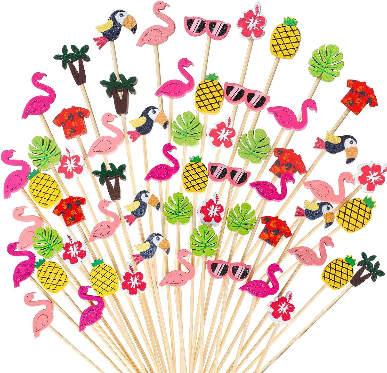 Hawaiian Luau Assorted Tropical Cocktail Toothpick Flamingo Pineapple Toucan Palm Leaf Handmade Bamboo Toothpicks for Luau Hawaii Beach Holiday Party Supplies (100)