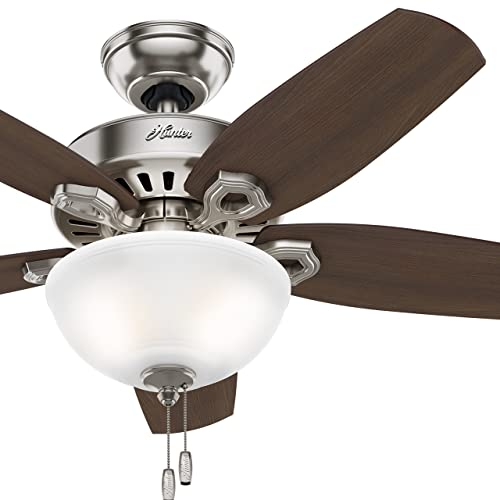 Hunter Fan 42 inch Small Room Ceiling Fan in Snow White with Bowl Light Kit Renewed Brushed Nickel