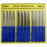 Fixwell 12pc Stainless Steel Knives Set, Blue Handles