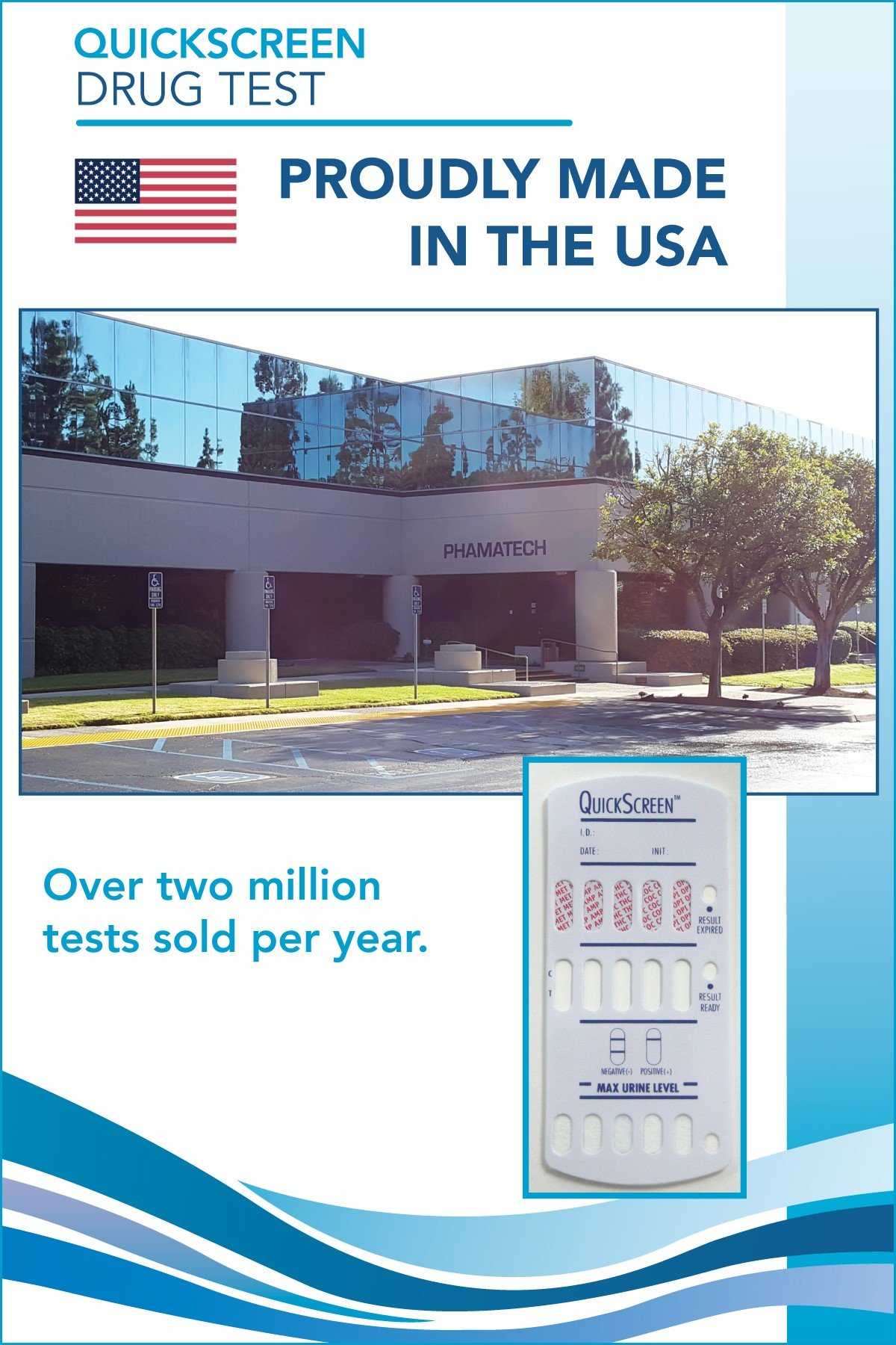 QuickScreen 5 Panel Urine Drug Test Dip Card 9147T - MET-500, AMP, THC, COC, OPI-300 + Timer (25) - Made in USA