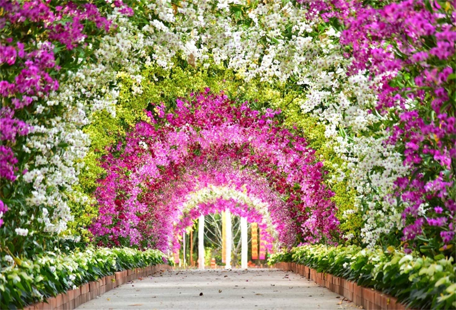 GoEoo Fabulous Colorful Floral Archway Backdrop 10x7ft Vinyl Beautiful Flowers Summer Garden Scenery Background Wedding Celebration Party Banner Bridal Shower Bride Groom Shoot Wallpaper