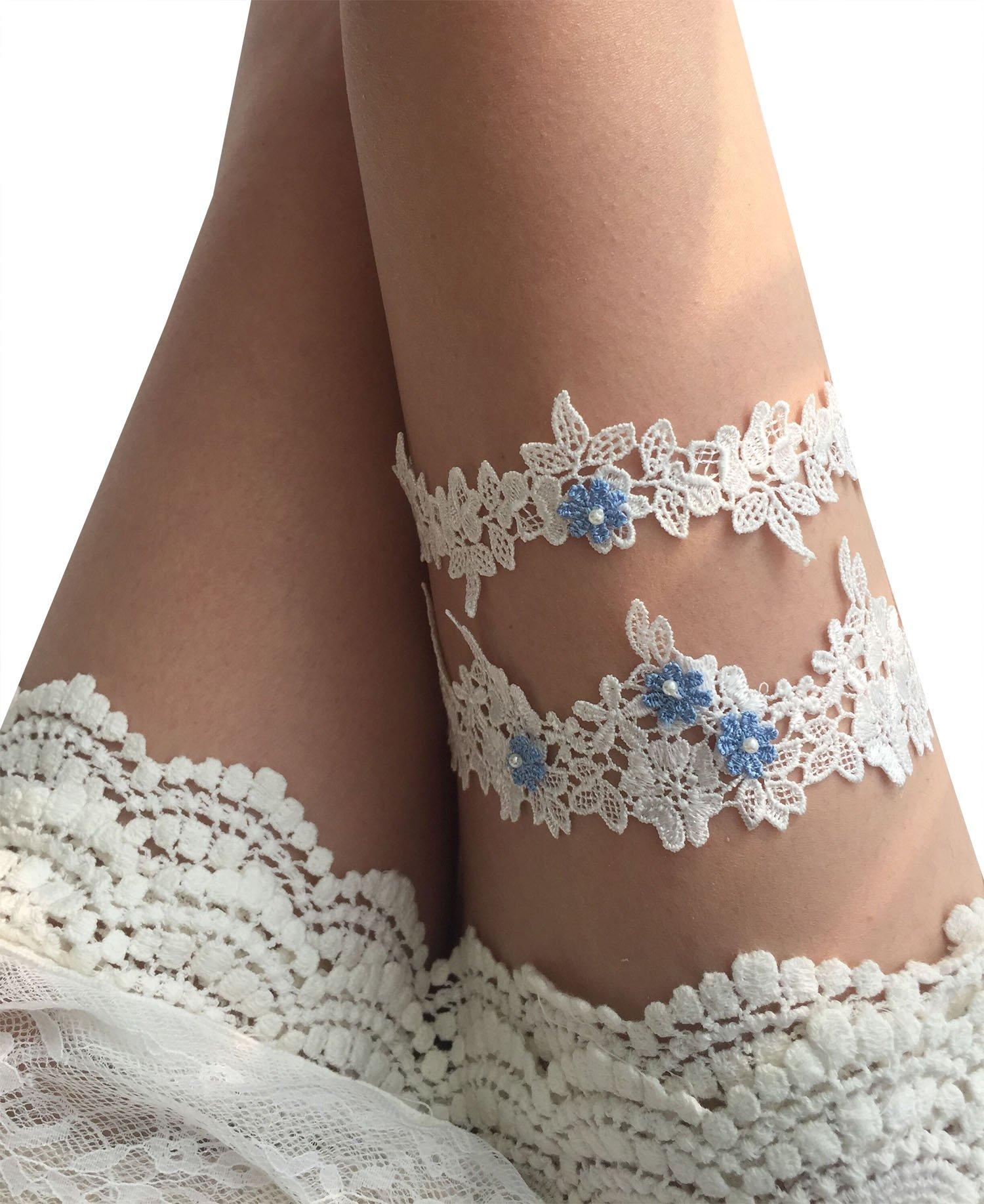 YuRong Wedding Floral Garter Set Beaded Lace Garter Set Bridal Garter G02 (Sky blue)