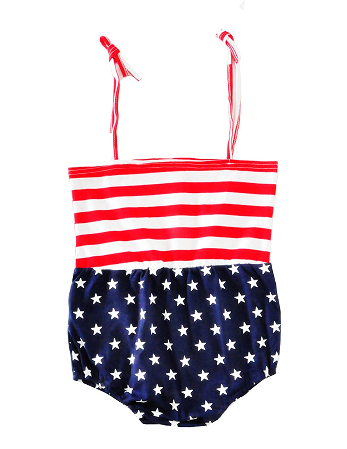 Headband NOMSOCR Infant Baby Girls Summer Halter One-Pieces Rompers American Flag Jumpsuit Bodysuit Outfits Clothes