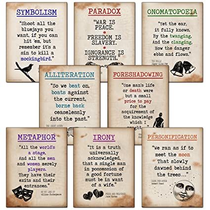 Amazon Literary Terms Mini Quote Poster Set Featuring