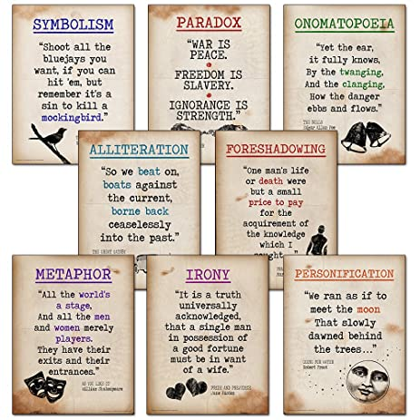 com literary terms mini quote poster set featuring  literary terms mini quote poster set featuring alliteration foreshadowing irony metaphor onomatopoeia