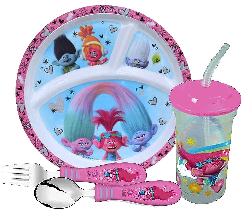 新作人気 Zak B07KMWFZMC Designs Designs 女の子用トロール食器セット Zak セクションプレート、フォーク、スプーン、タンブラーカップが含まれます。 Poppy、DJ Suki、Branch & Guy Diamondが特徴です。 BPAフリー、4点セット。 B07KMWFZMC, ユウワマチ:6b5cd07a --- a0267596.xsph.ru