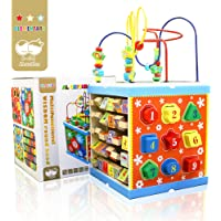 Al Ostoura Toys, Montessori Wooden Activity Cube,Abacus,Learning Letters, Digital Colock, Multi-Function Bead Maze…