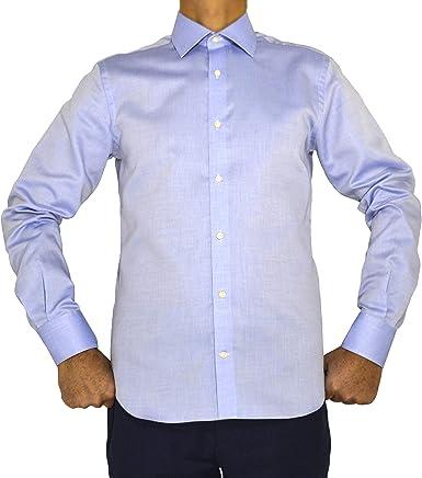 E. MECCI Camisa para Hombre 100% algodón Azul Claro Regular Fit Manga Larga: Amazon.es: Ropa y accesorios