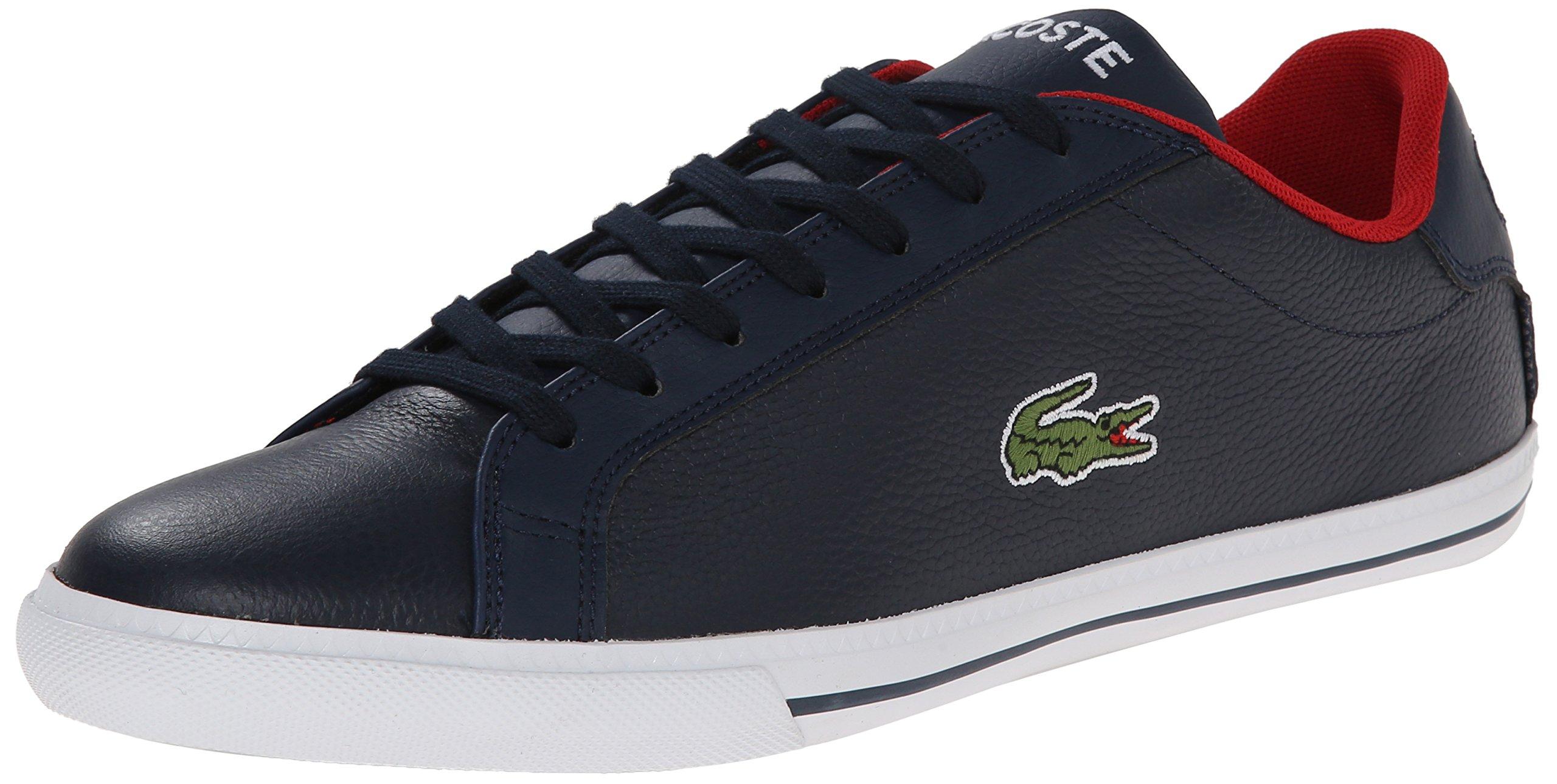 Lacoste Men's Grad Vulc Fashion Sneaker, Dark Blue/Red, 8.5 M US