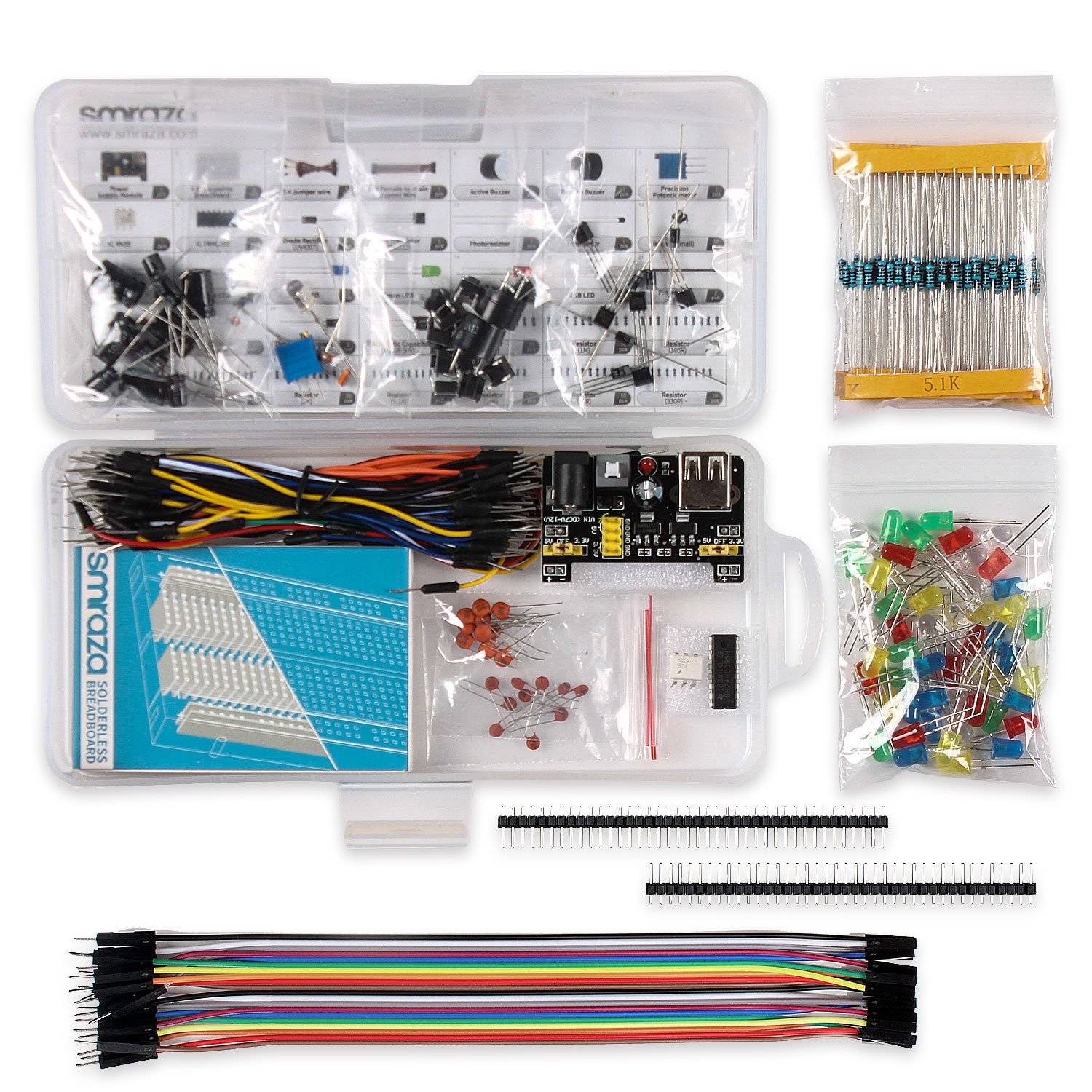 Smraza Basic Starter Kit With Breadboardpower Supplyjumper Wires Topic Rgb Led Driver Circuit Works But Resistor Gets Hot Read 1 Wiresresistors For Arduino Uno R3mega2560nanoraspberry Pi Computers