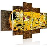 Vogue quadro su legno 5 pezzi Il Bacio di Klimt 66x115 cm