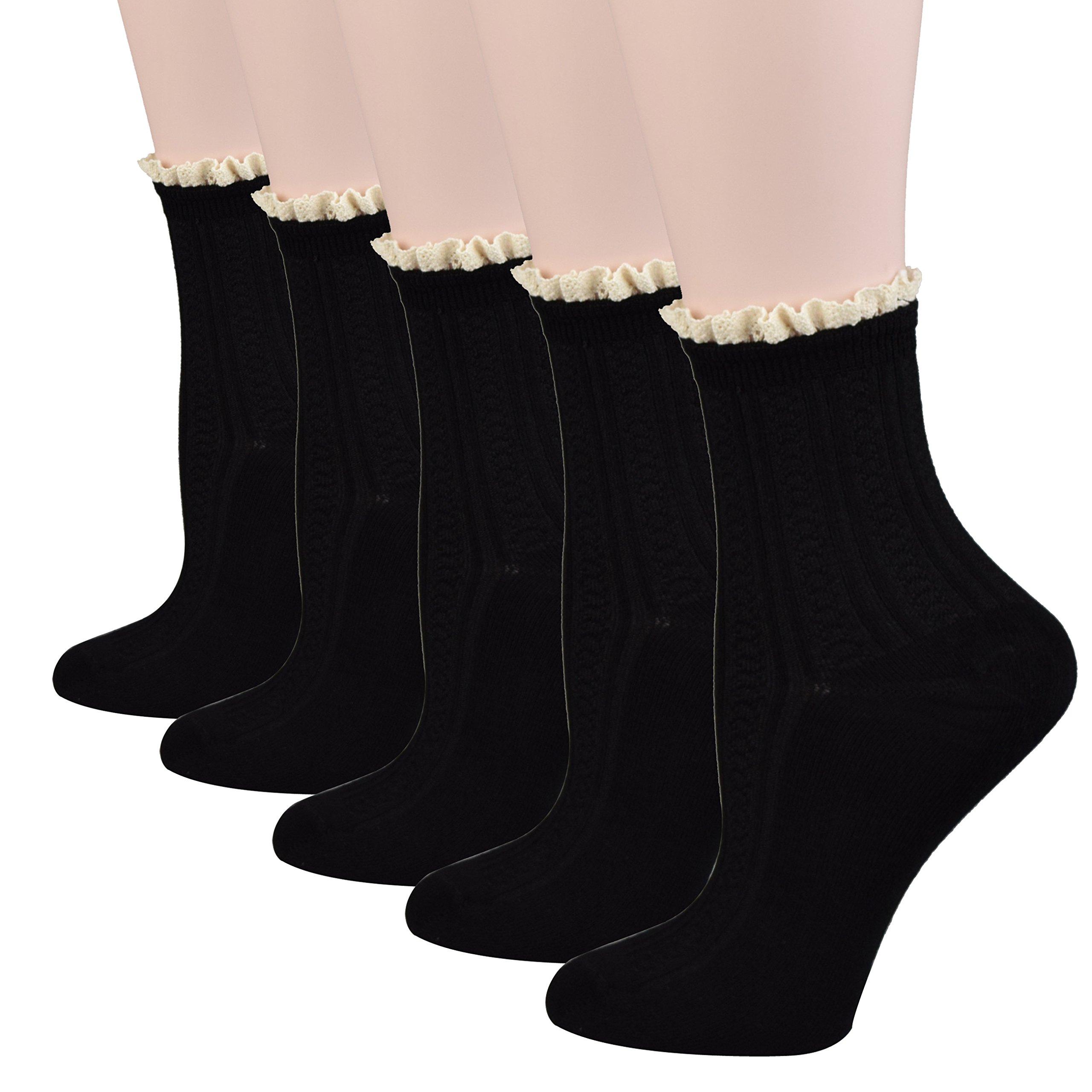 Fitu Women's Cute Rayon From Bamboo Crew Socks 5 Pairs Pack (Black)